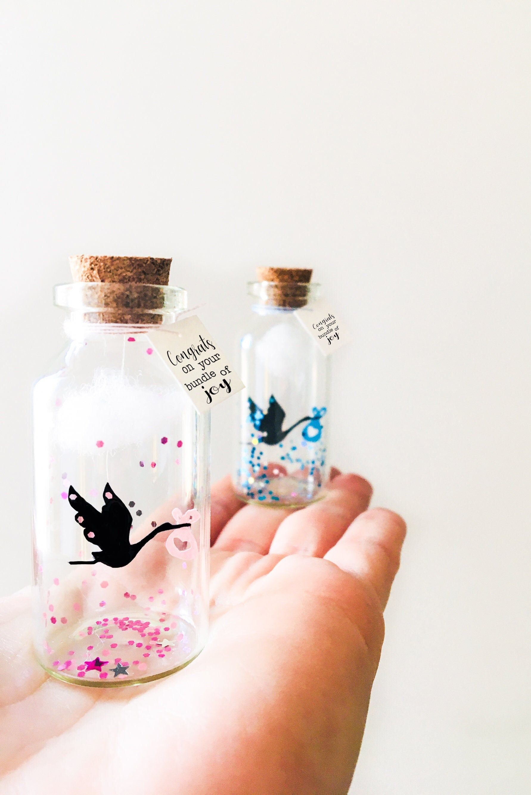 Birth card message in a bottle baby shower gift baby