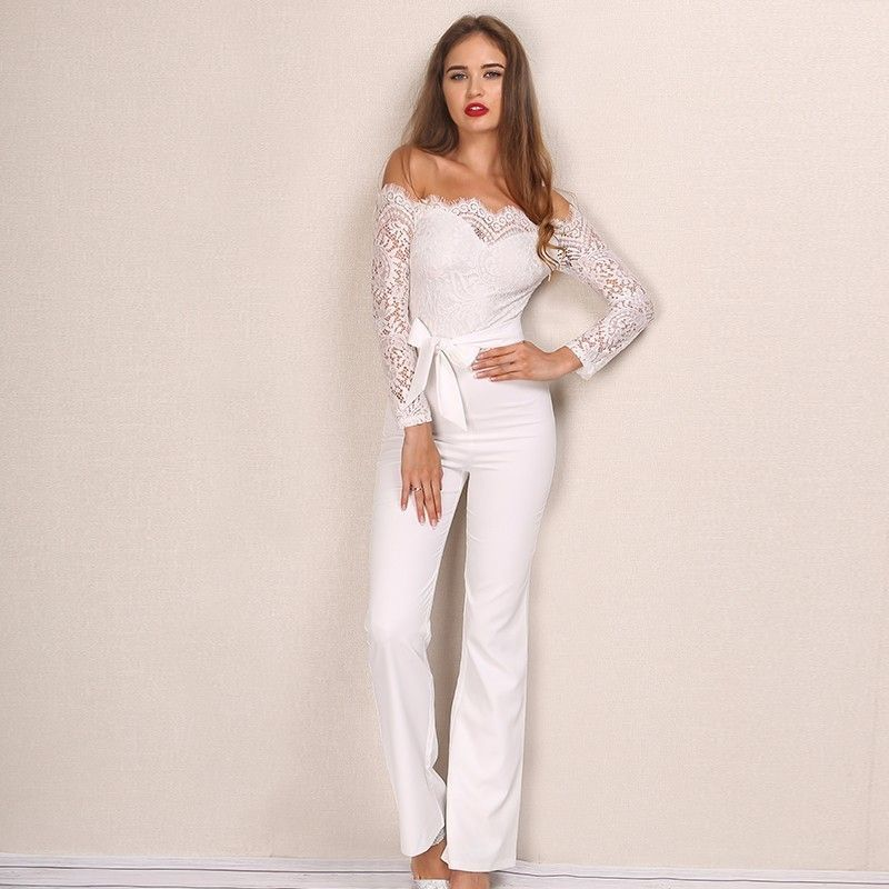 d3237bcef6f3 Yissang Elegant Office Lady Loved Sexy Party Playsuit Good Lace Off The  Shoulder Bodycon Womens Jumpsuit Long Sleeve Rompers - TakoFashion -  Women s ...
