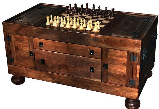 for daniel a coffee table with a built in chess board and. Black Bedroom Furniture Sets. Home Design Ideas