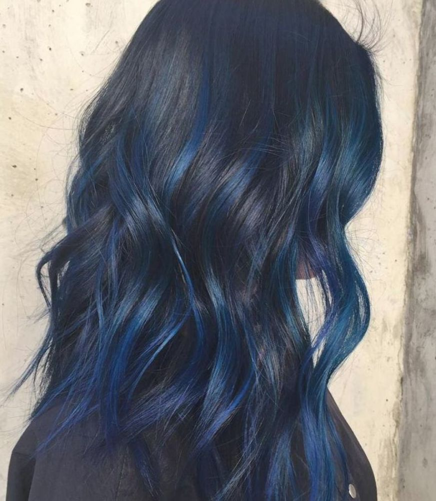50 Blue Hair Highlights Ideas Hair Colour Style In 2020 Hair Color For Black Hair Blue Hair Highlights Midnight Blue Hair