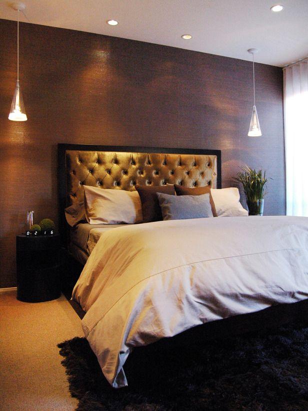 Master Bedroom Headboards grass cloth wallpaper and a velvet-tufted headboard add texture