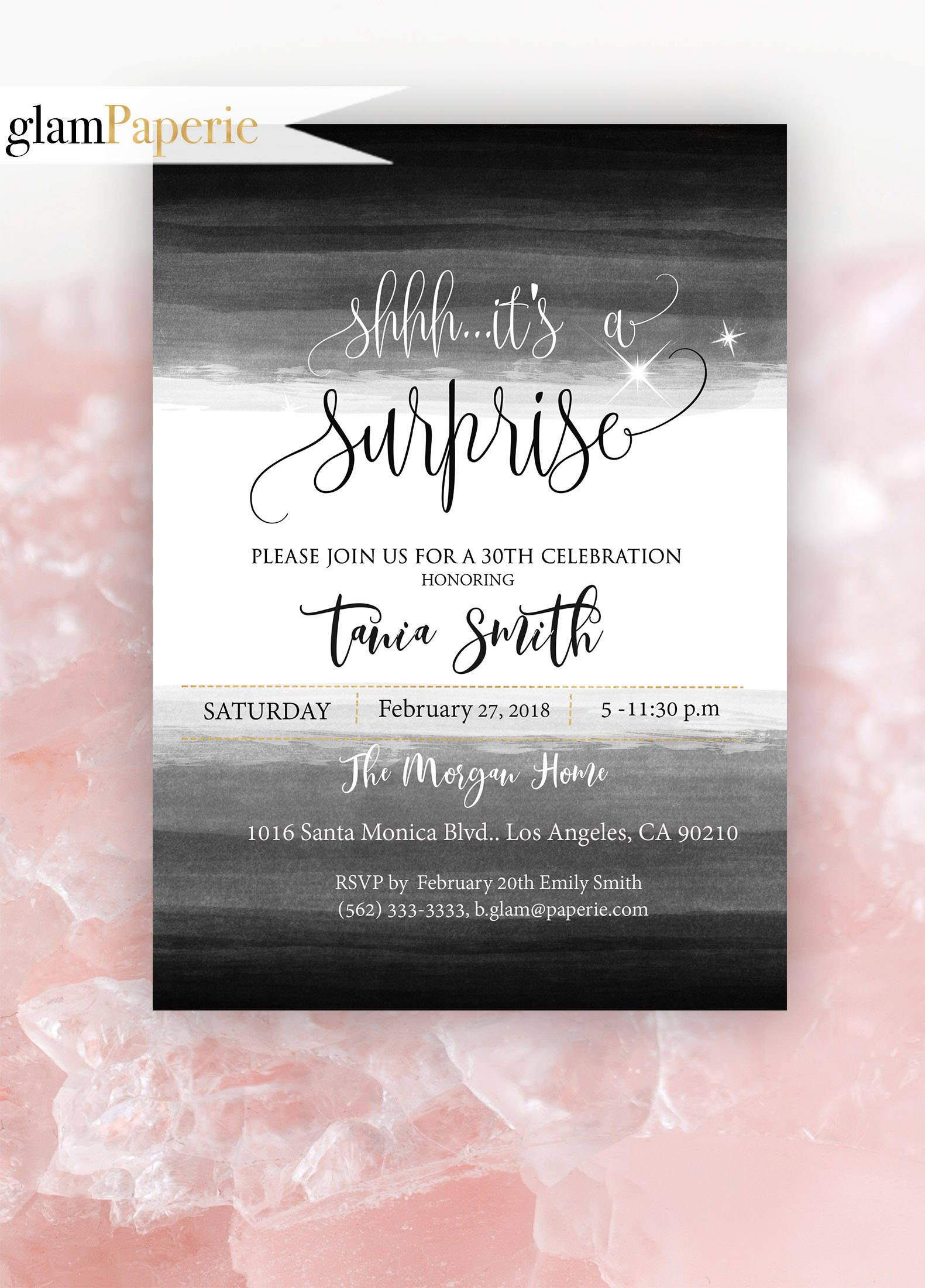 30th Surprise Birthday Invitation for her - Party Printable ...