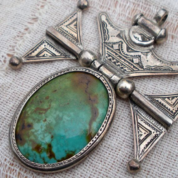 Turquoise and Sterling Tuareg Pendant Hinged and Etched made