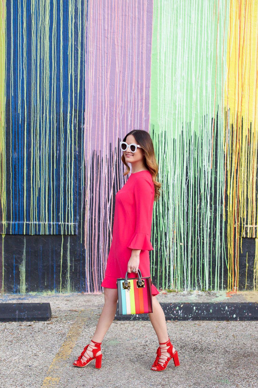 e92bb15ca3 Pink Ruffle Shift Dress and red Tassel Heels