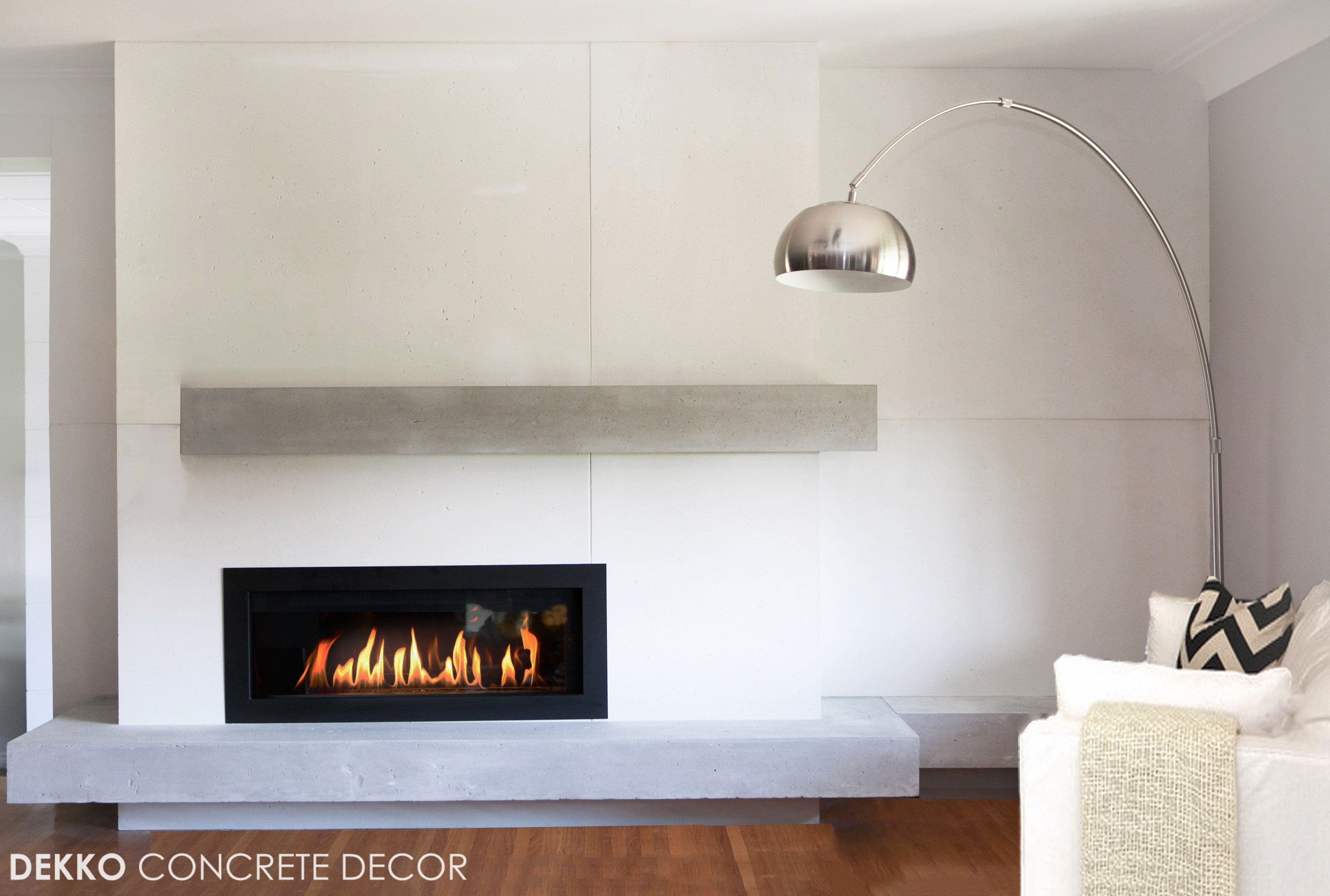 Engineered Lightweight Concrete Around Linear Gas Fireplace With