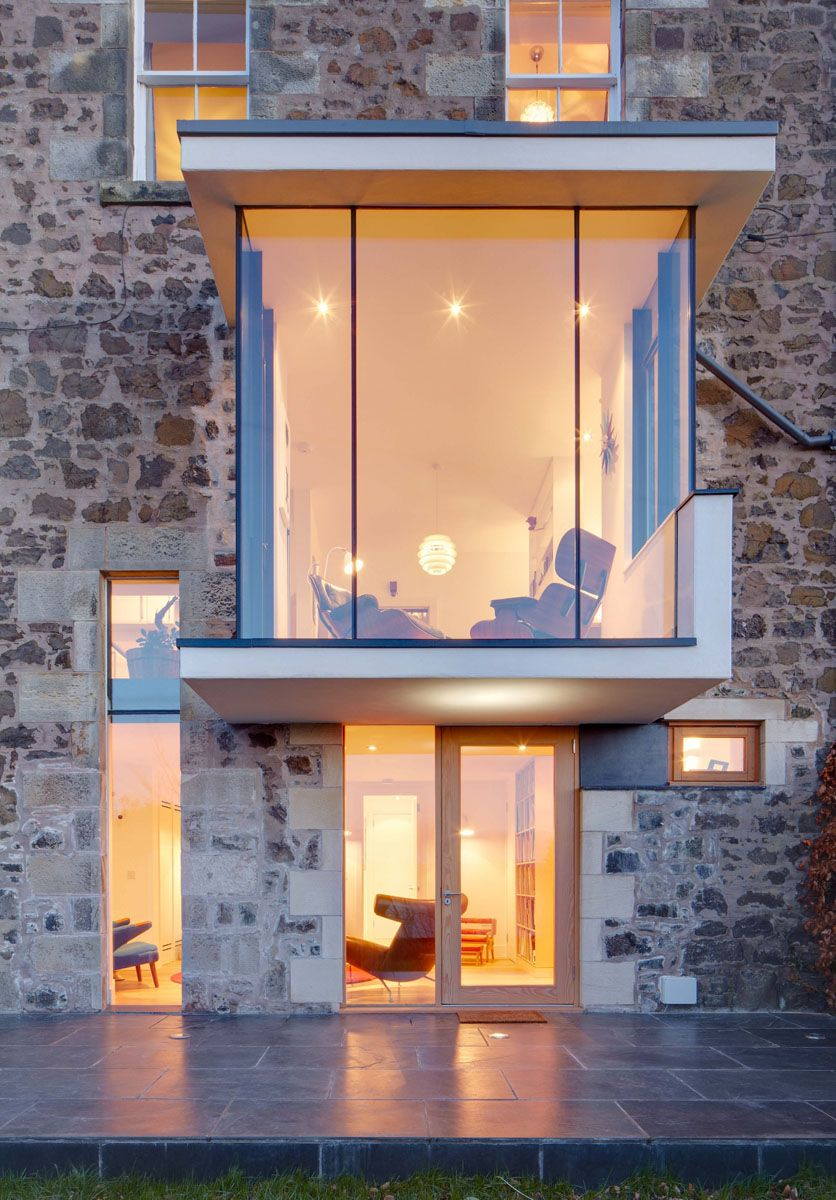 Modern Reconfiguration Of A Victorian Stone House Glass Extension Old Stone Houses Modern Windows