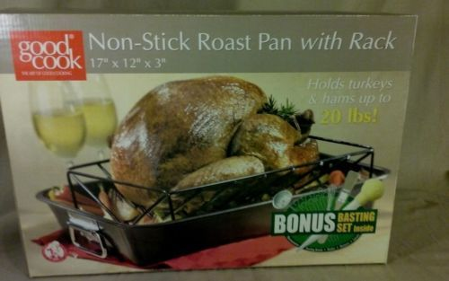 New-Good-Cook-Non-Stick-Roast-Pan-Rack-Bonus-Basting-Set-Roasting-Bulb-Baster