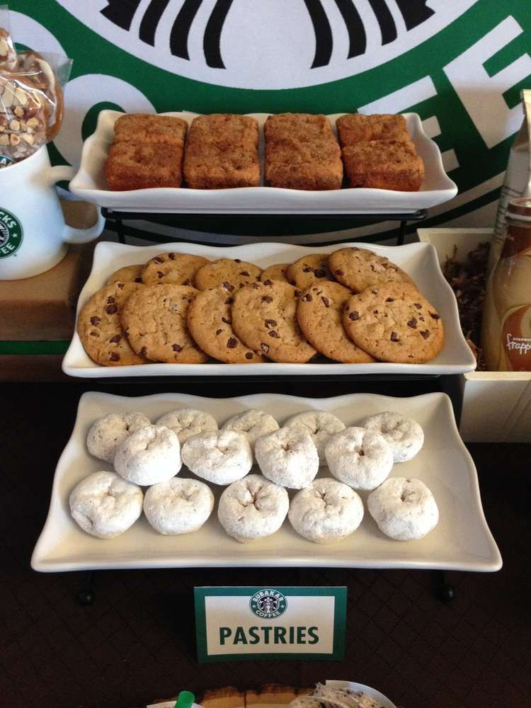 Cookies and donuts at a Starbucks Cafe dessert bar party! See more party planning ideas at ! #starbuckscake