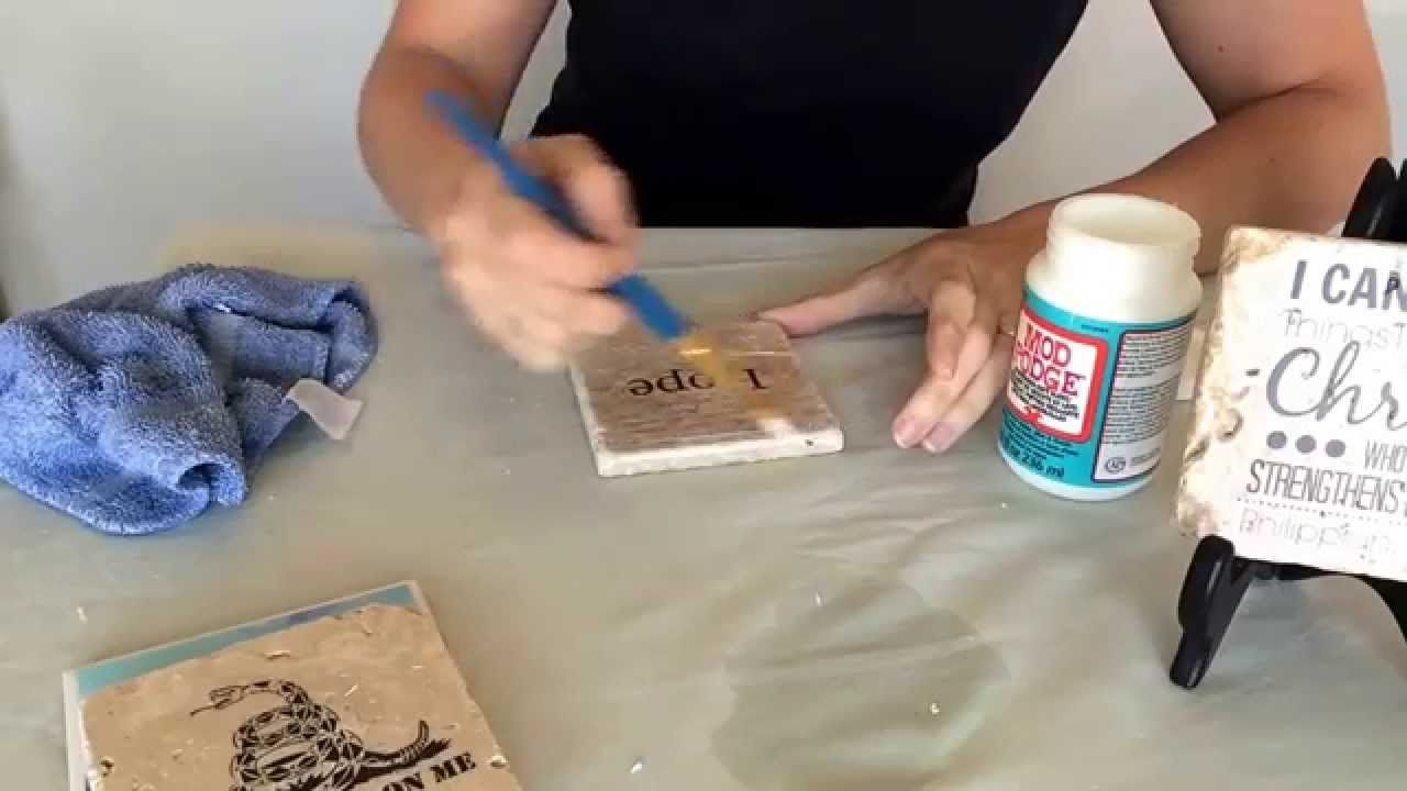 DIY Paste picture on your coasters using Mod Podge Matte