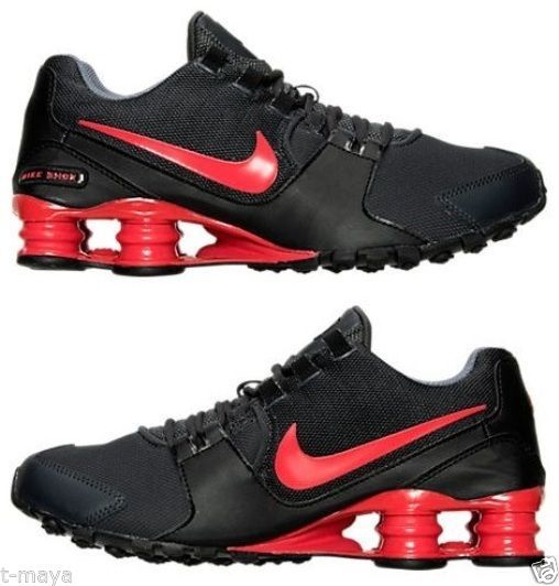 NIKE SHOX AVENUE MEN's LEATHER M RUNNING ANTHRACITE - ACTION RED - BLACK NEW SZ