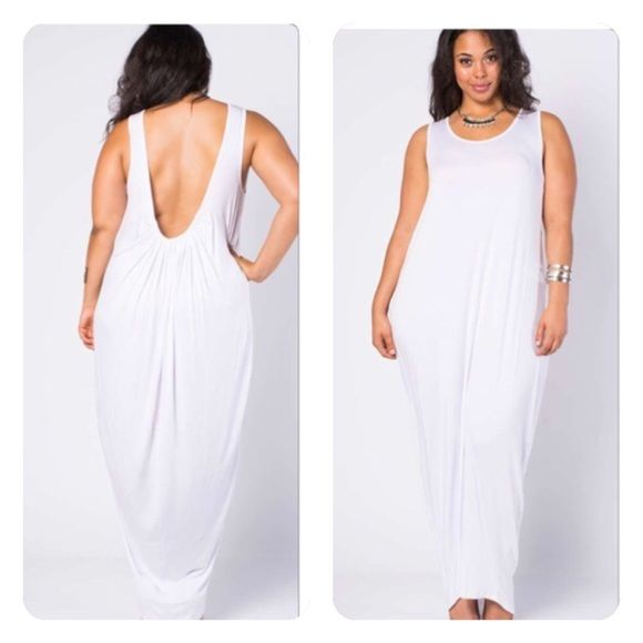 Low back maxi dress nwot Maxi dress white with low back Dresses Maxi