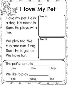 Kindergarten Math and Literacy Worksheets for February  Reading