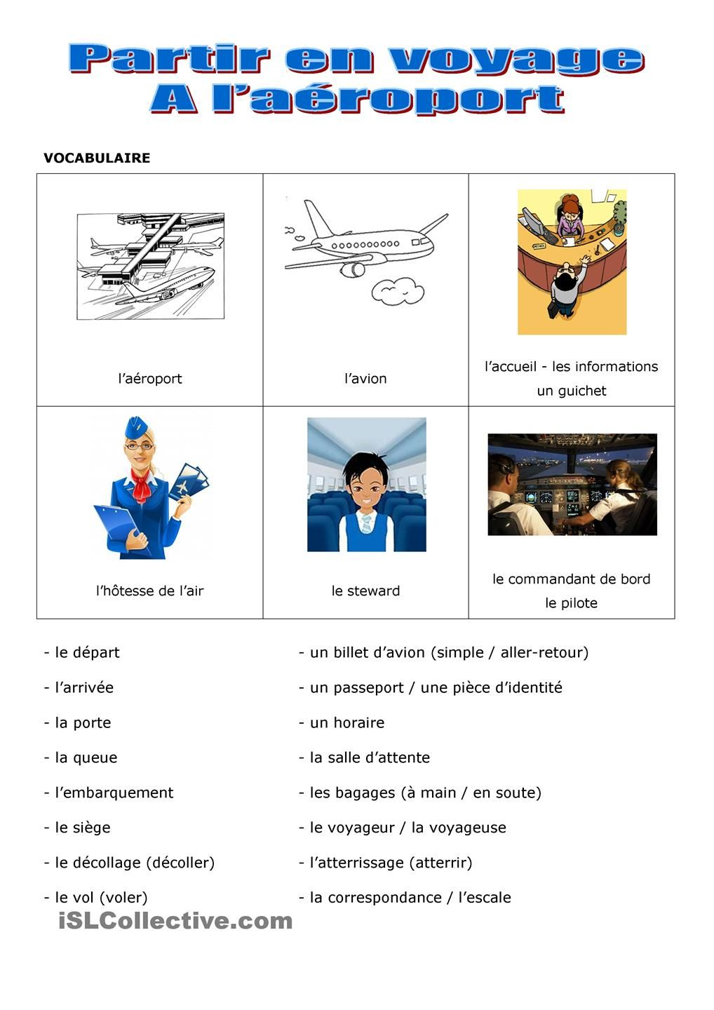 Voyage en avion FLE Vocabulaire