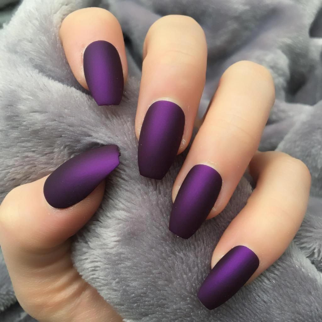 45 Charming Matte Nail Designs To Try This Fall Nail Designs Fall Matte Nails For Long Or Short Nails Acrylic M Matte Nails Design Purple Nails Trendy Nails