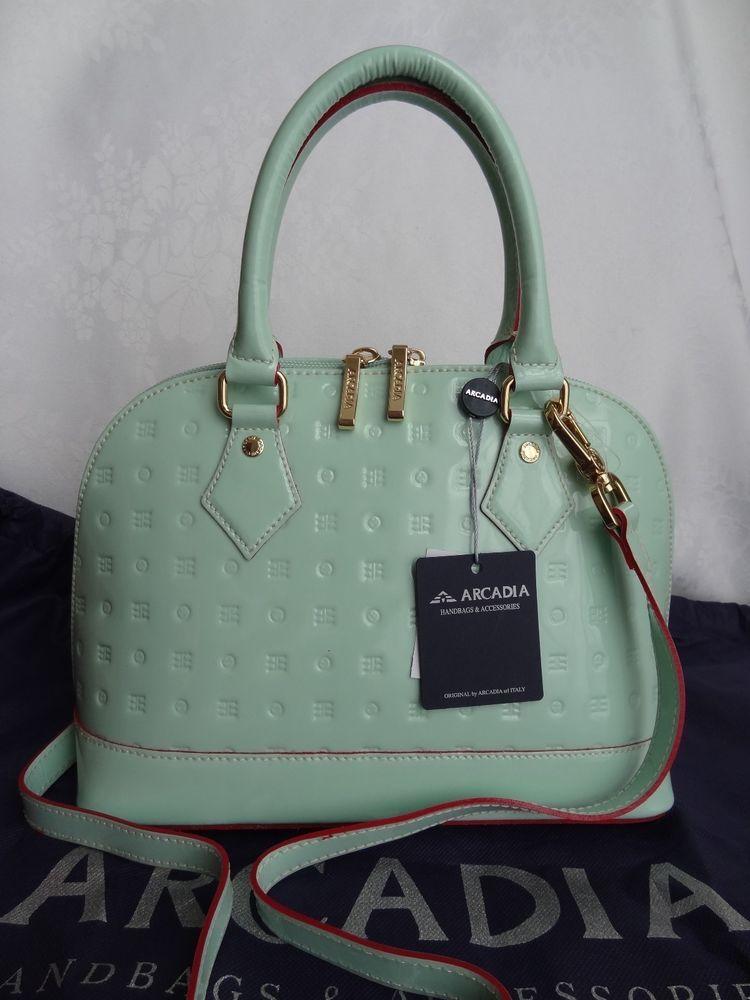Arcadia Italy Patent Leather Satchel Shoulder Handbag Purse Mint Green Small Nwt