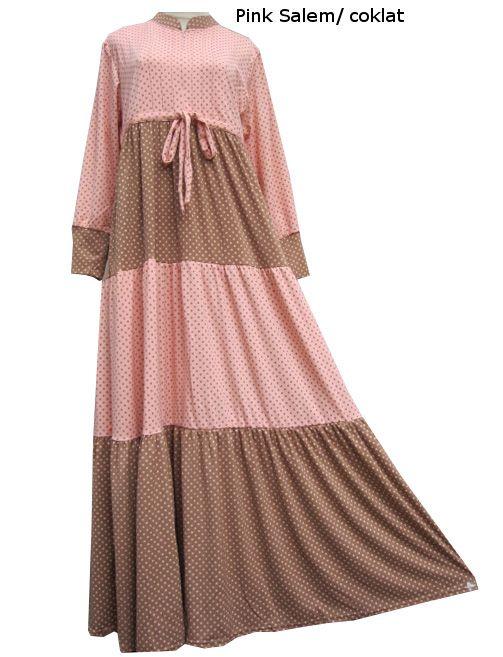 Gamis Bertingkat Resleting Polkadot Tkt410101 Baju Gamis Terbaru Bahan Sifon Spandek Bahan Jersey Model Baju Gamis Je Clothes For Women Muslimah Dress Fashion