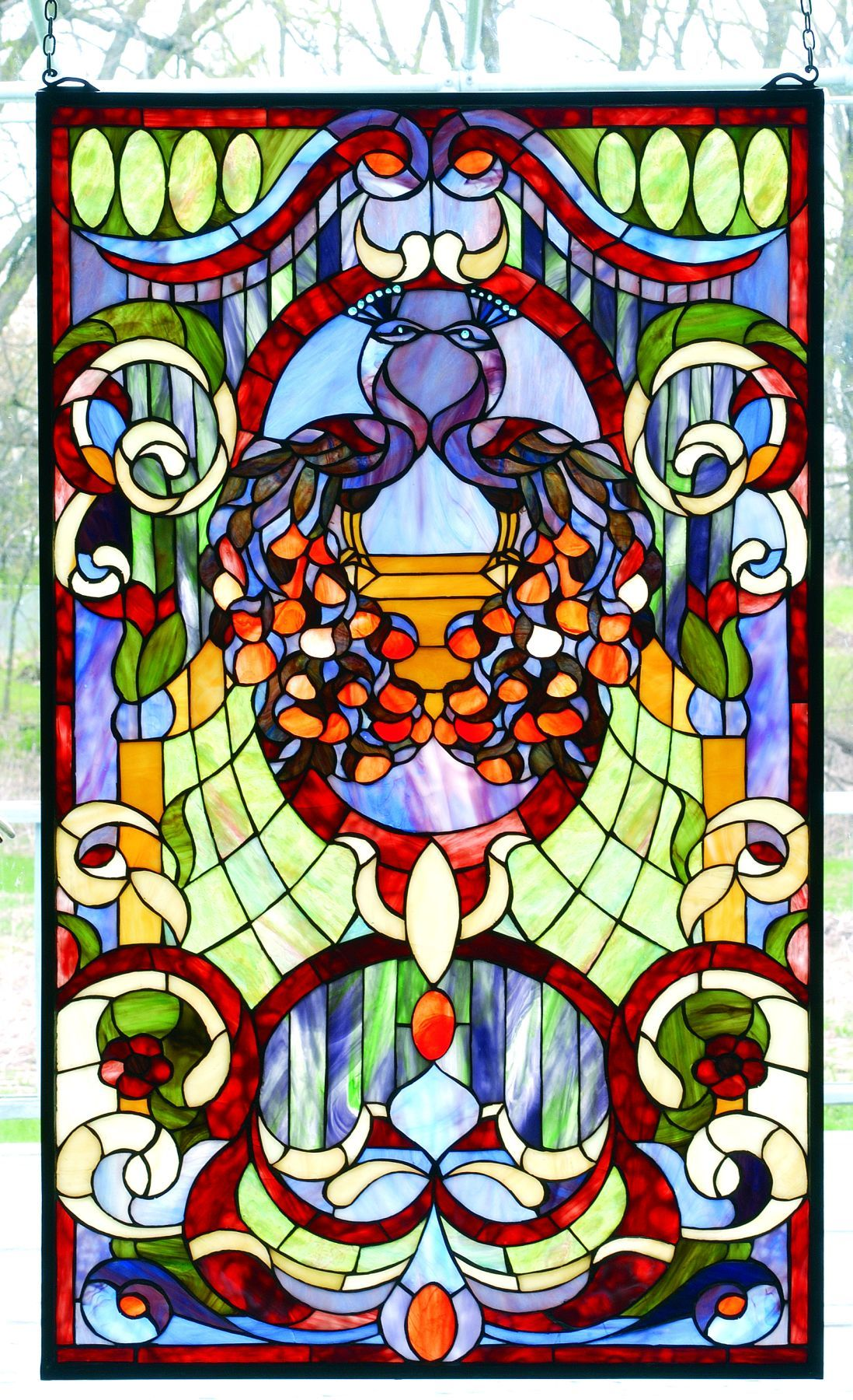 Meyda tiffany 79983 twin peacock victorian estate stained for Decorative window film stained glass victorian