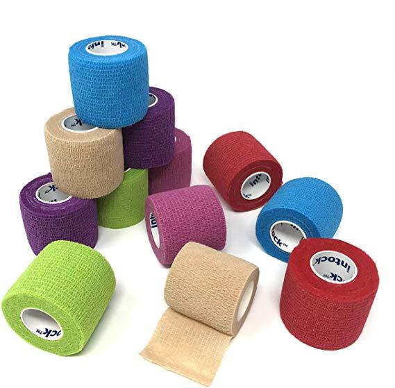 Amazonsmile Intock Self Adhesive Bandage Wrap Tape Cohesive Bandage Medical Tape Gauze Roll 12 Rolls Of 2 X 5
