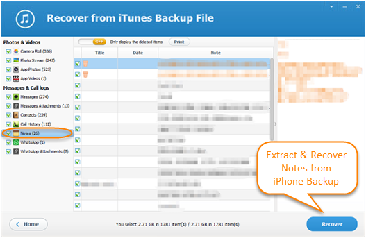 How To Extract Recover Notes From Iphone Backup Free Iphone