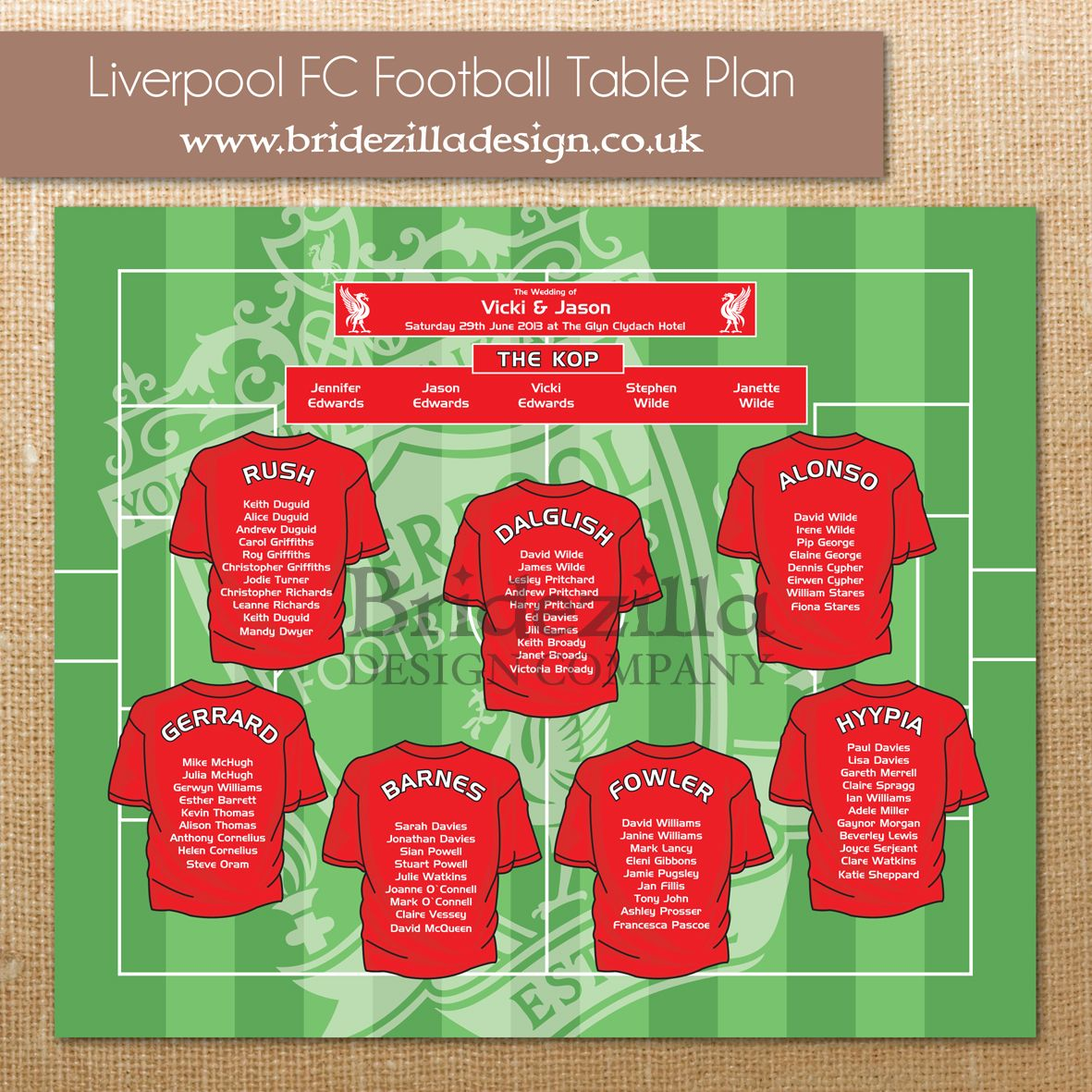Liverpool FC Football Wedding Table Plan. Matching table numbers and ...