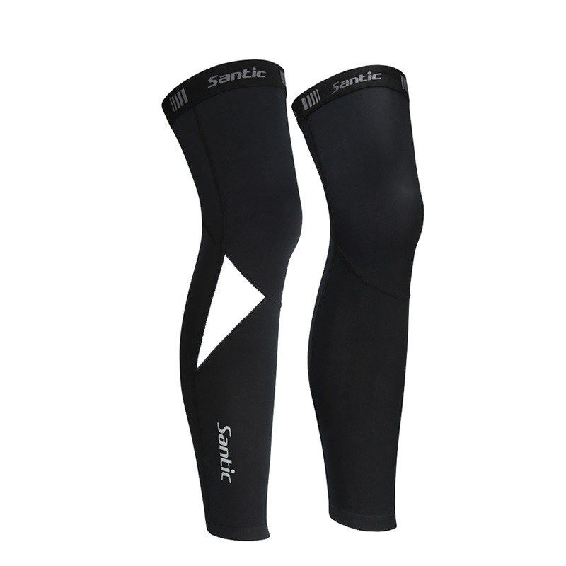 Santic Cycling Leg Warmers Sports Cover UV Protection Breathable Black 1 Pair