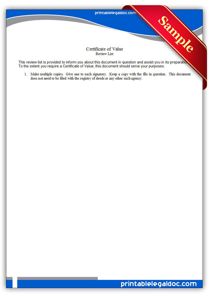 Free Printable Certificate Of Value Legal Forms Free Legal Forms