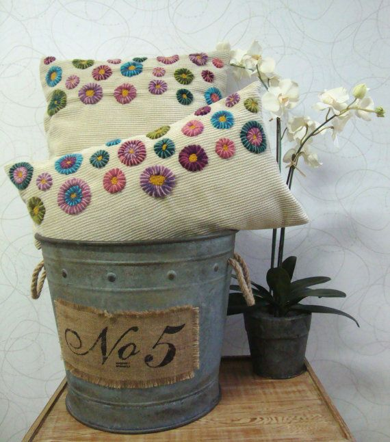 Hand Embroidered Pillow Set in corduroy fabric. Exclusive design by DubrasenHome
