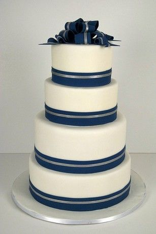 wedding cake silver ribbon a classic navy and silver wedding cake using navy and 24552
