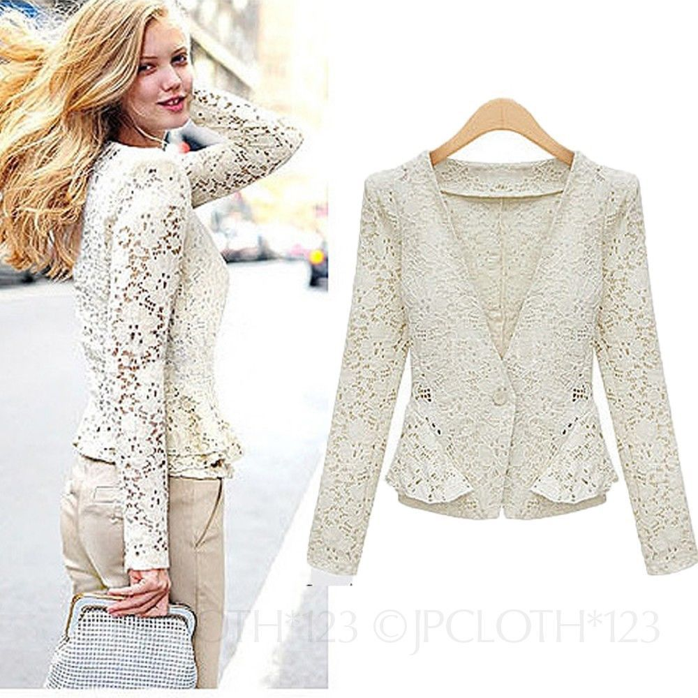 Beige Fitted Ladies Lace Blazer Jacket Crochet Cardigan Womens ...