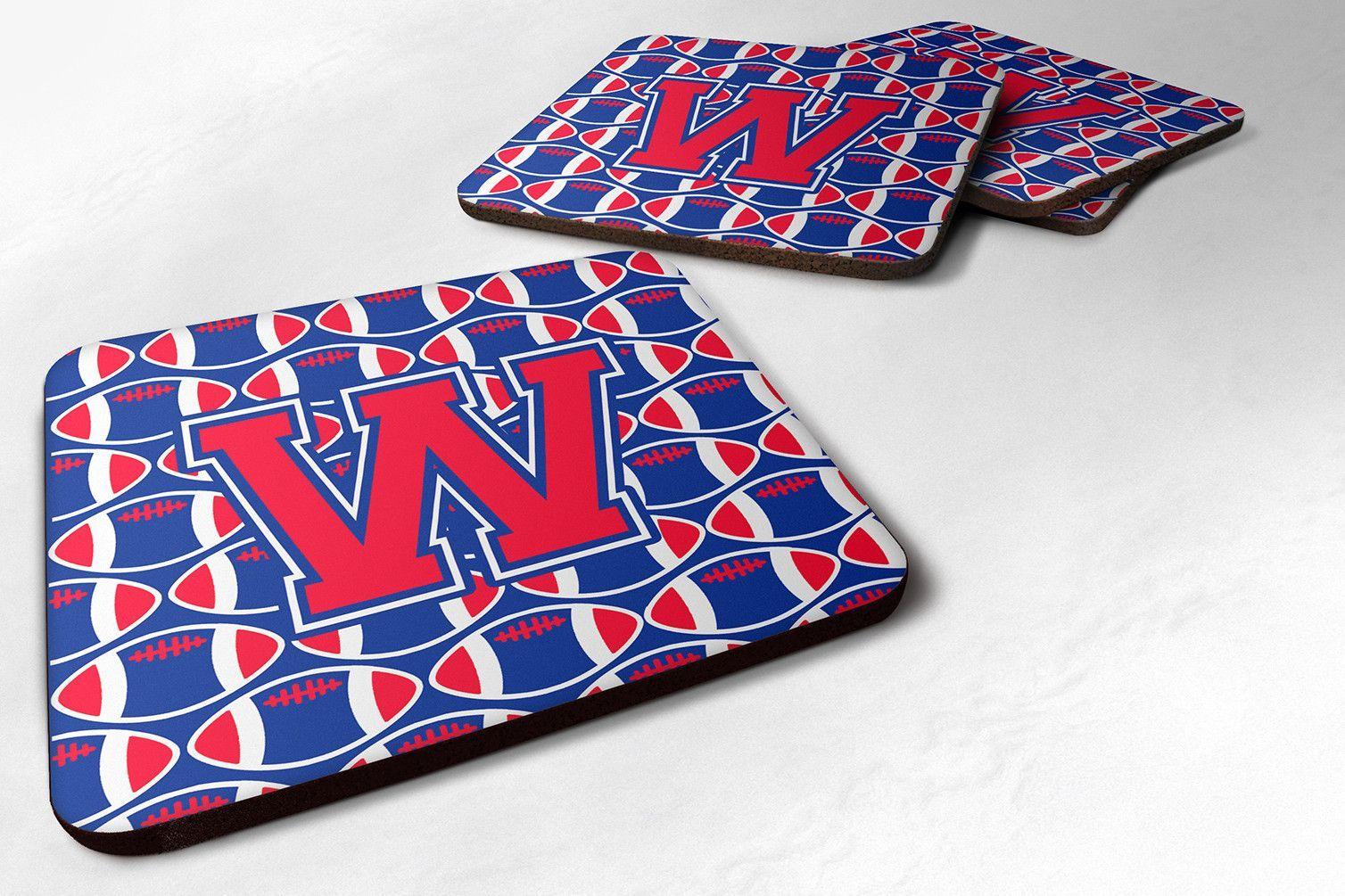 Letter W Football Harvard Crimson and Yale Blue Foam Coaster Set of 4 CJ1076-WFC