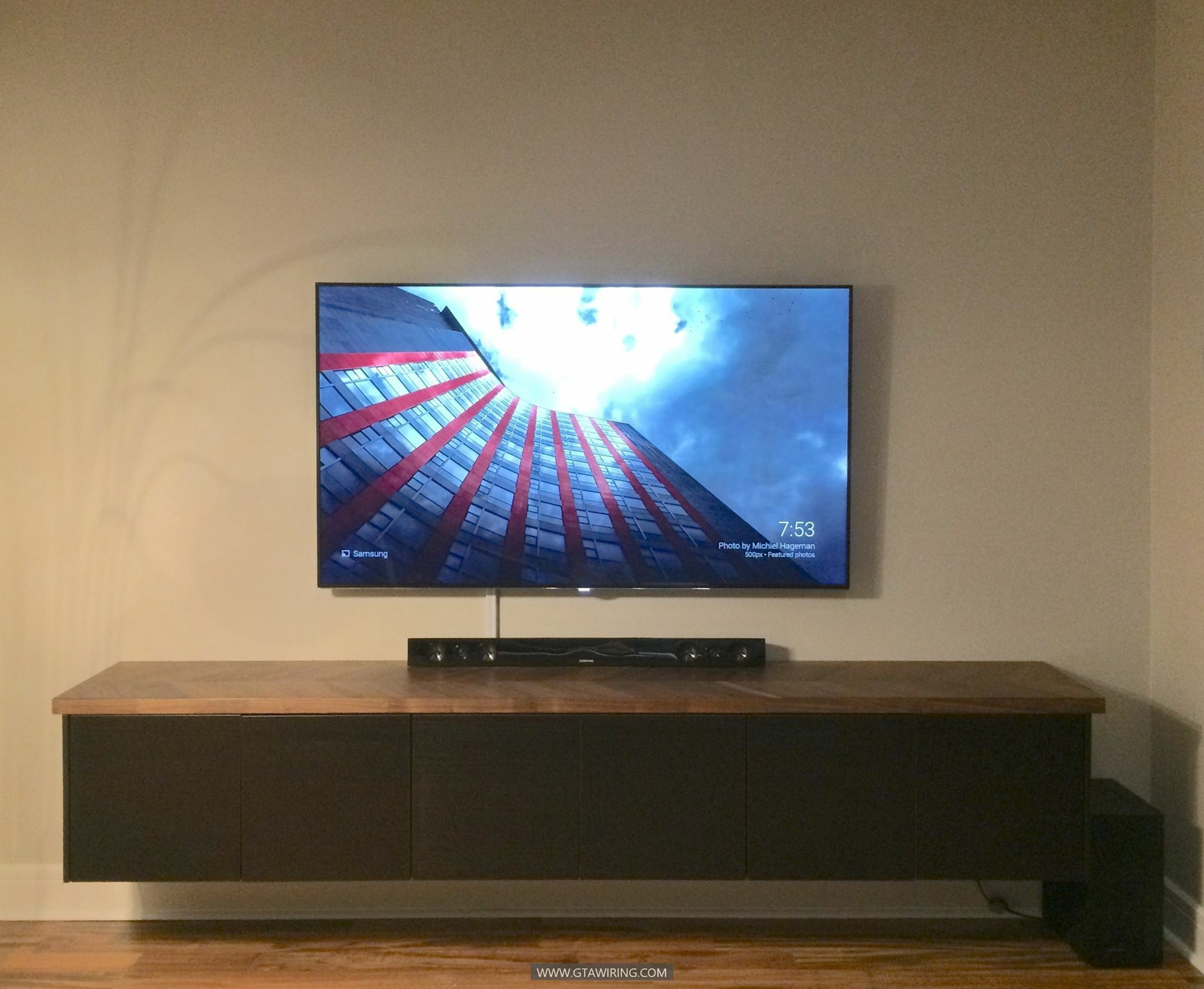 Tv Wall Mounting Floating Shelf And Soundbar Installation