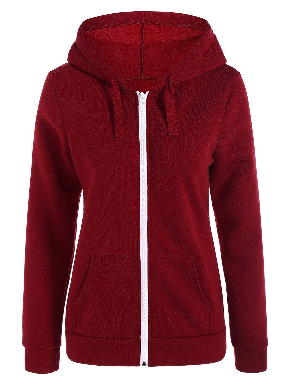 Deep Red Hooded Solid Fashion Womens Hoodie in 2019  7ff6731f7e