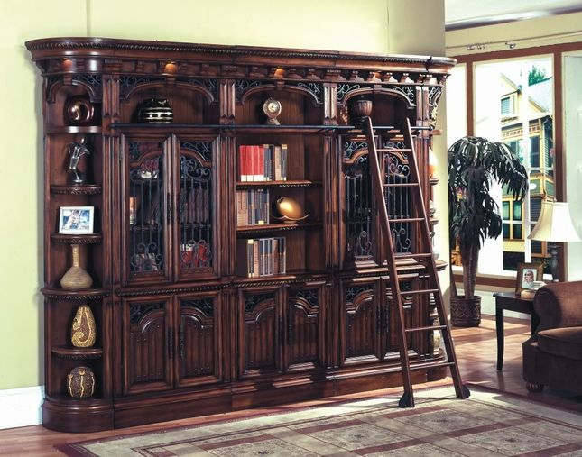 Barcelona Traditional Library Bookcase Wall Unit W Ladder Glass Cabinet Doors Bookcase Wall Bars For Home