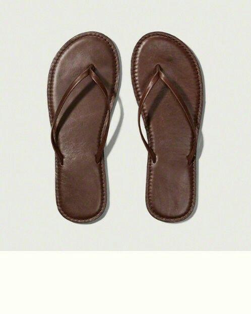 Abercrombie leather flip flops | Brown