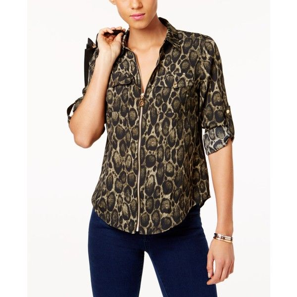6cdf8078dff8 Michael Michael Kors Leopard-Print Utility Blouse, a Style ($74) ❤ liked on  Polyvore featuring tops, blouses, safari green, brown top, leopard blouse,  ...