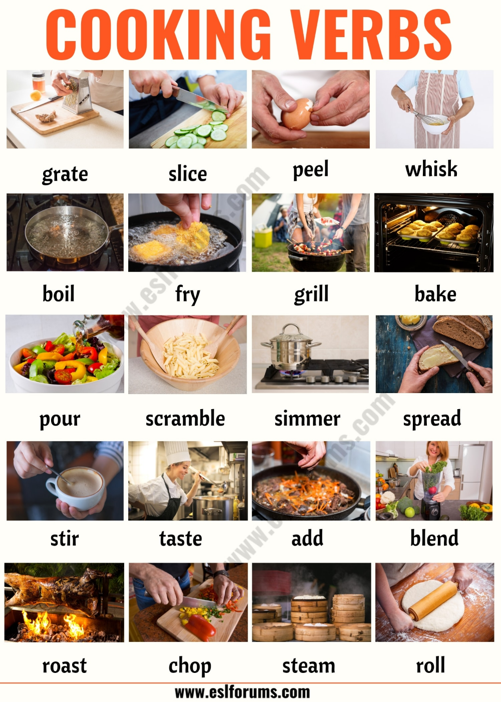 Cooking Terms List Of 20 Useful Cooking Verbs In English Esl Forums English Verbs English Learning Spoken Learn English Vocabulary