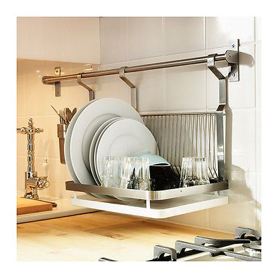 Ikea Grundtal Dish Drainer Removable Tray Hanging Space Saver Stainless Steel Kitchen Space Home Dish Drainers