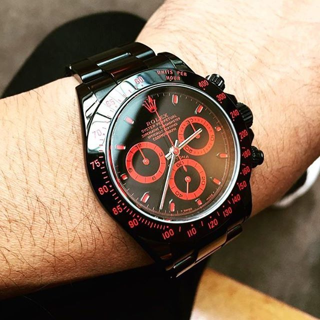#friendfriday we love this shot of a client and friends all black mgtc #bamfordwatchdepartment #daytona with a black and red dial