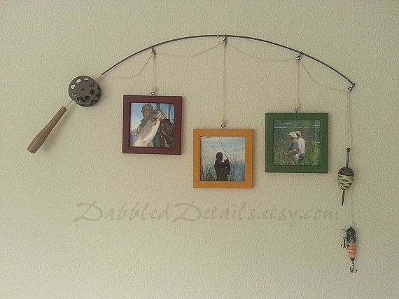 Fishing Pole Picture Frame Metal Silver 3 By Dabbleddetails