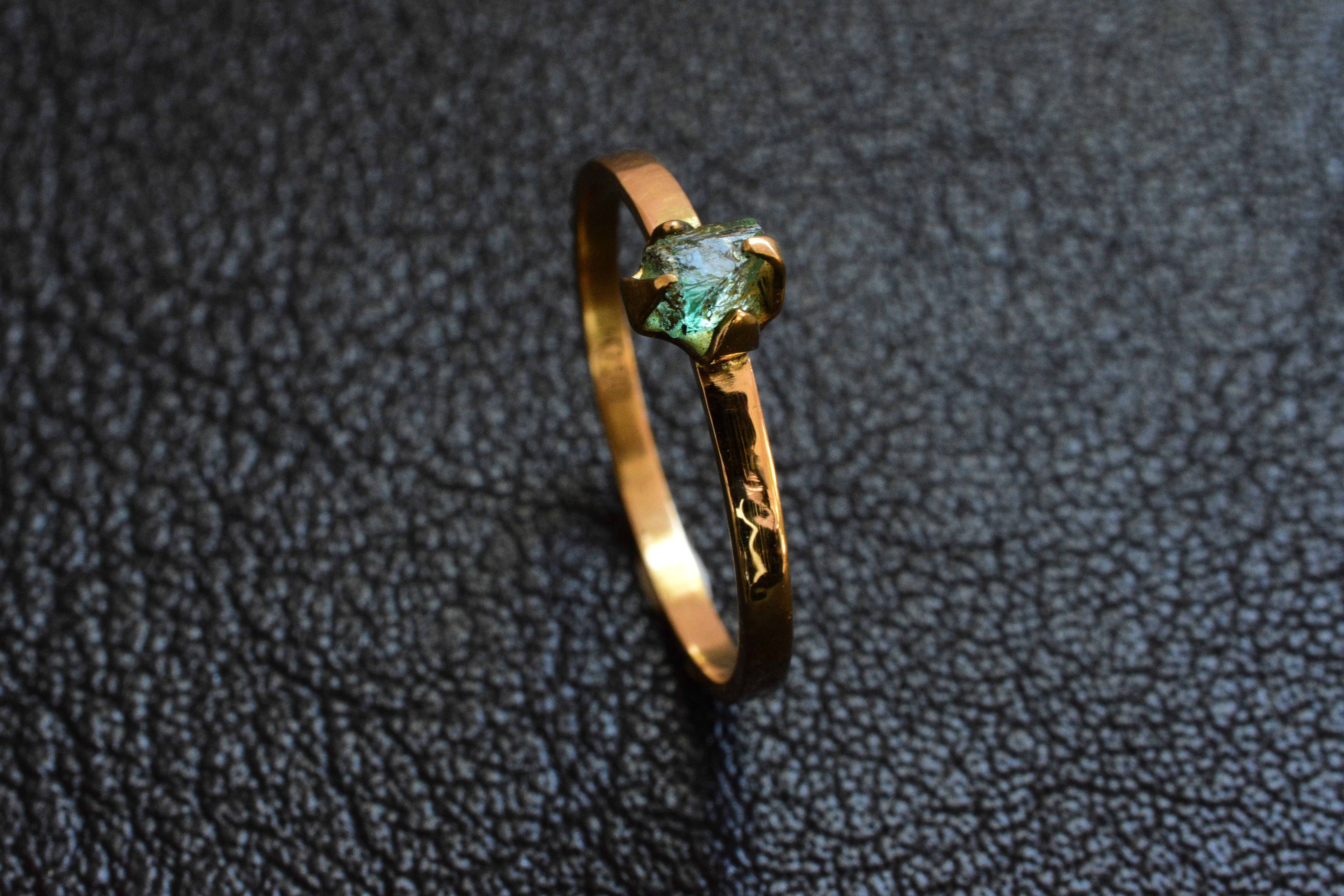 Raw Australian Emerald Gold Ring Self Collected And Set In A