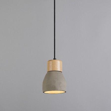 Lámpara colgante TORCIA hormigón y madera