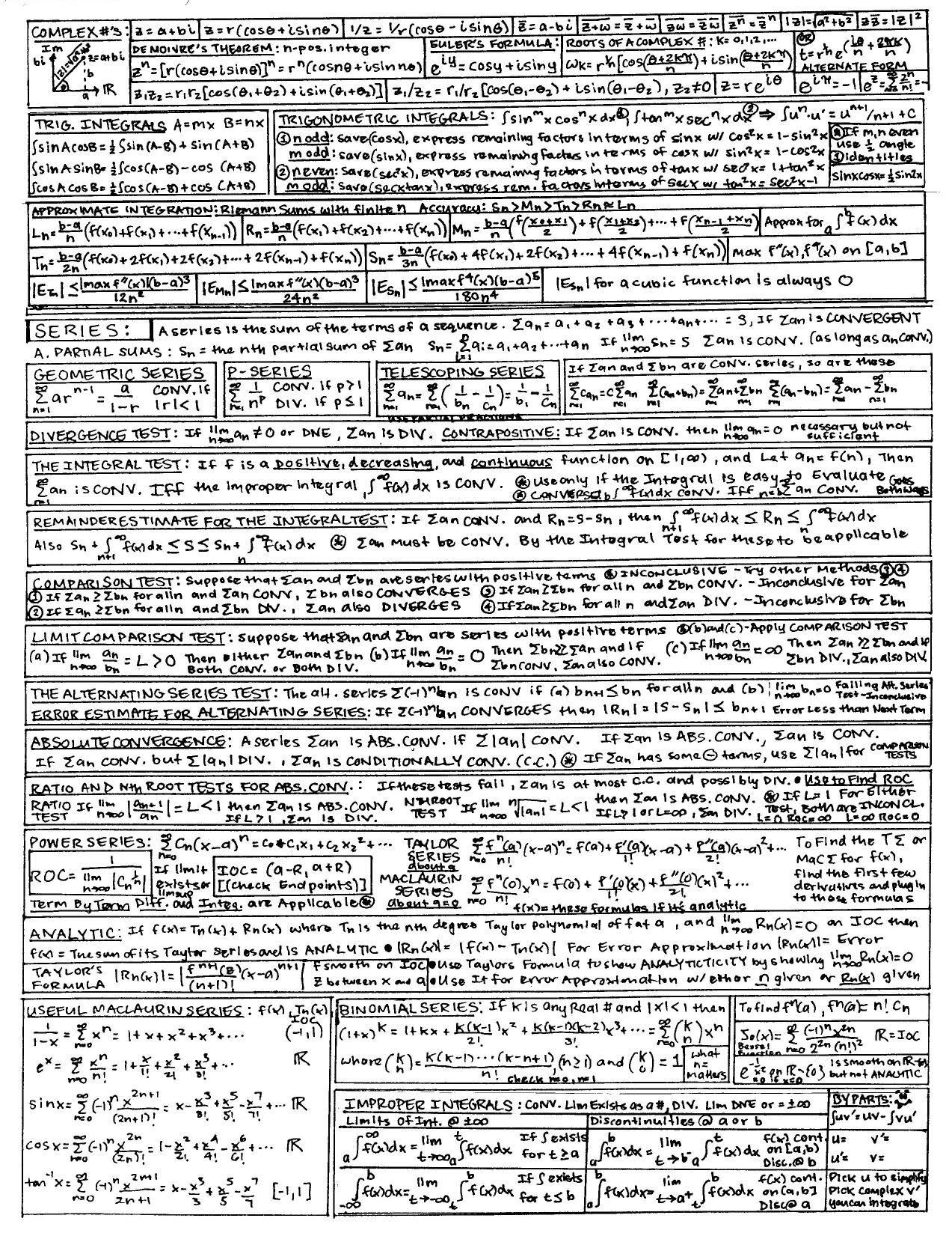 Math Worksheet Andy S Physics Math Astronomy Cheat Sheets Math