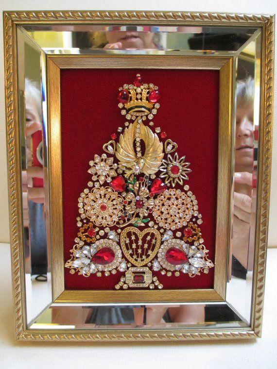 Jeweled Framed Jewelry Art Valentine Christmas Tree Red Gold