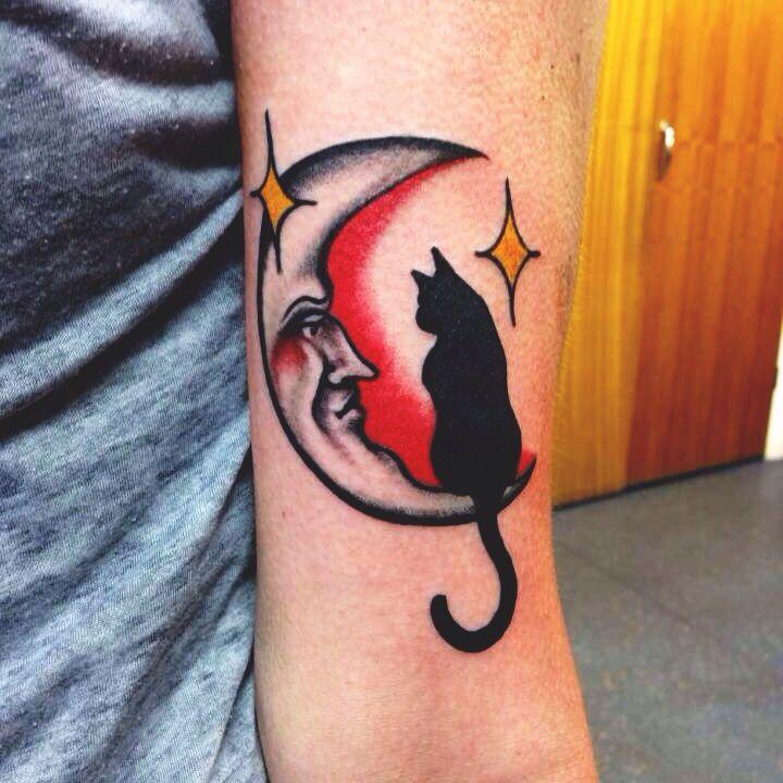 Cat And Moon Tattoo Moon Tattoo Traditional Tattoo Black Cat Tattoos