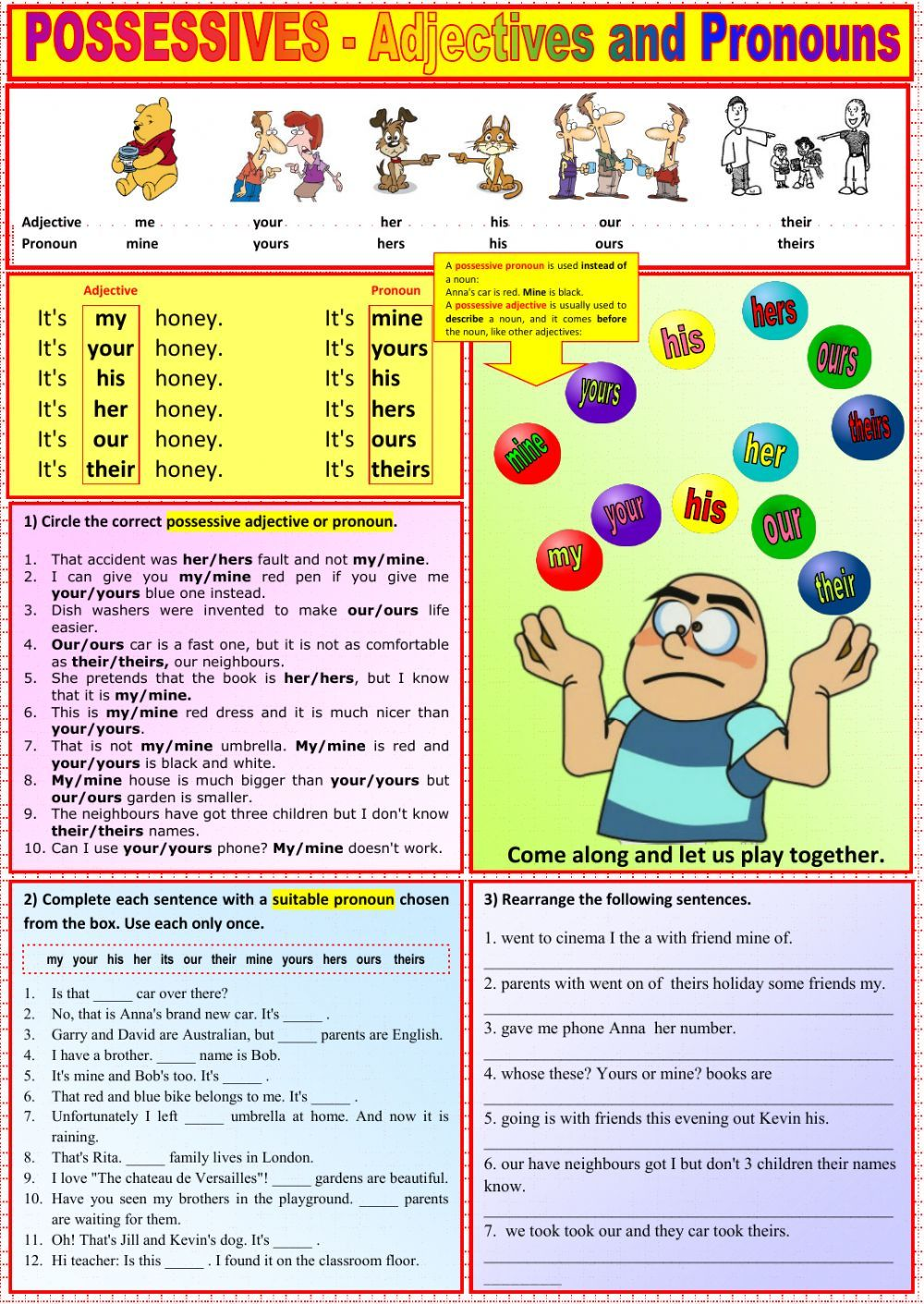 Possessive Adjectives And Pronouns Interactive And Downloadable Worksheet Check Your A Posesivos En Ingles Pronombres En Inglés Actividades Con Los Pronombres