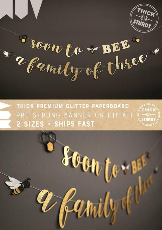 soon to BEE a family of three banner, with bee and beehive, bee theme Baby Shower banner, glitter party decorations