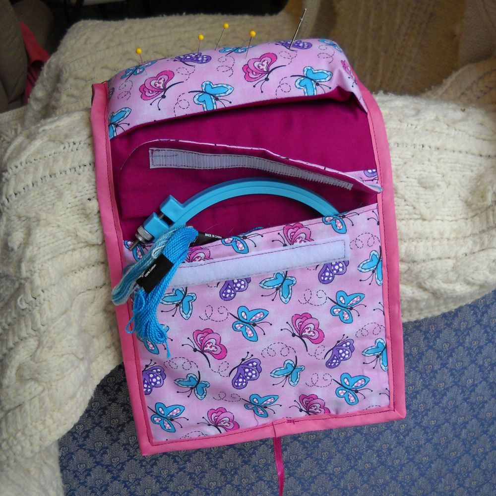 Pink Butterflies Sewing Caddy, Pincushion, Sewing Organizer, SALE by threadsofmagique on Etsy