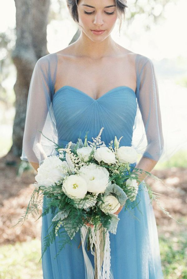 Romantic powder blue bridesmaid dress with beautiful illusion ...