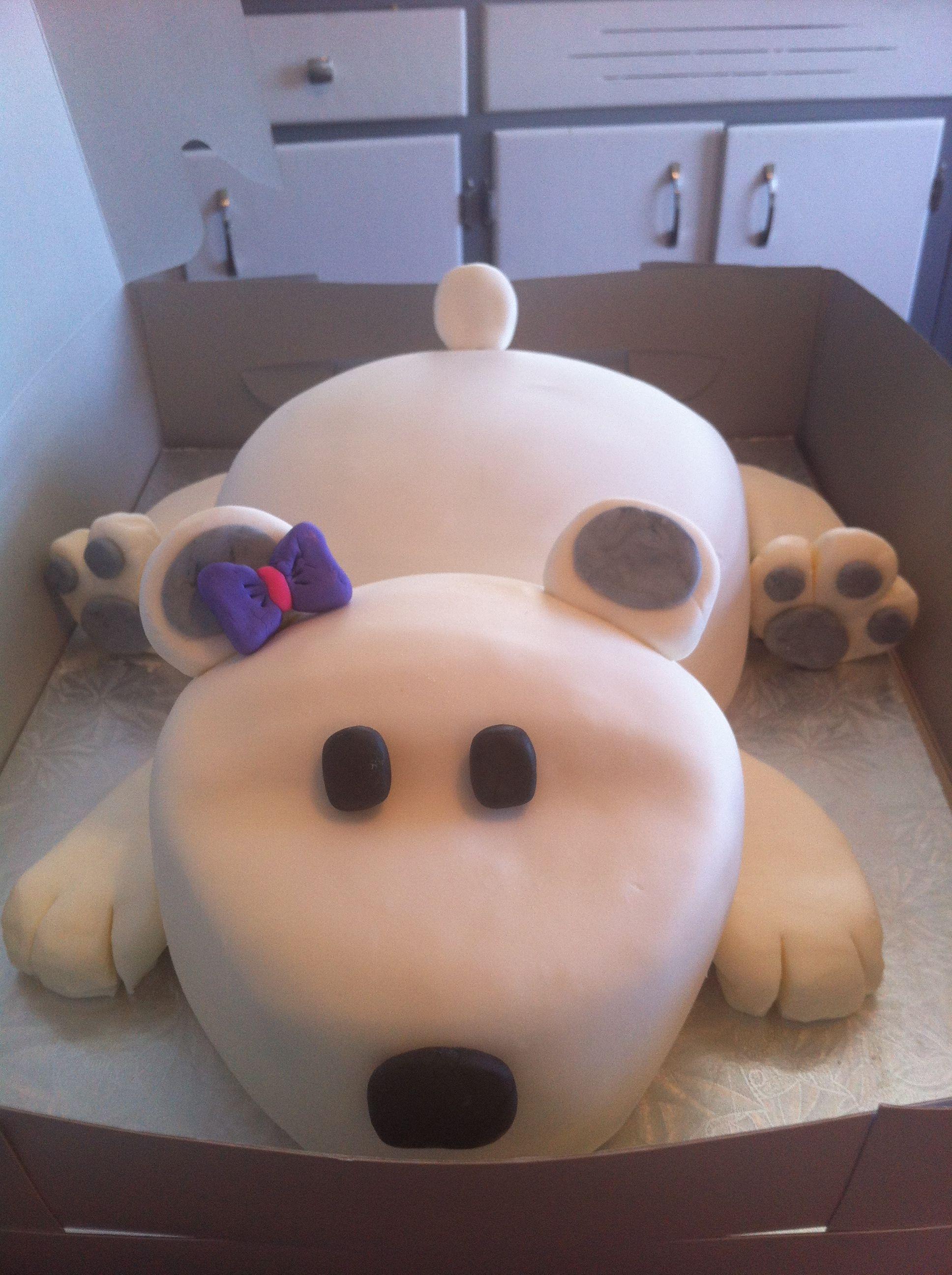 Giant polar bear cake i made for an order cupcake cakes