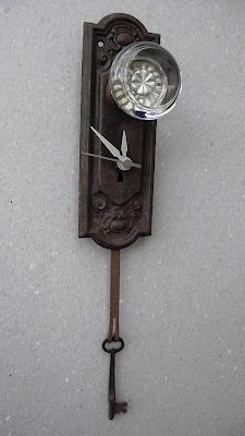 Wonderful Clock made from vintage repurposed door plate and knob and skeleton key! Upcycle Recycle Repurpose DIY! : antique key plate - pezcame.com